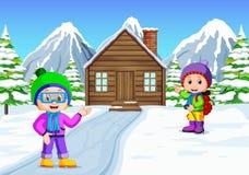 Nell'inverno, i bambini giocano nella neve molto allegro illustrazione di stock