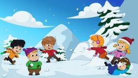 Nell'inverno, i bambini giocano nella neve molto allegro vettore e l'IL Immagine Stock
