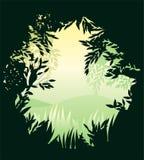 Nella bandiera rotonda della foresta Fotografie Stock