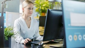 Nella bella donna di affari Working dell'ufficio sui comp. personali immagini stock libere da diritti