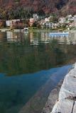 Nella caduta sul lago alpino Melide, Svizzera Fotografia Stock Libera da Diritti
