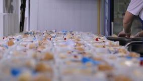 Nella fabbrica dell'aeroporto la lavoratrice sta imballando le scatole di pranzo utilizzate in aeroplano stock footage