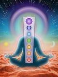 Nella meditazione con i chakras illustrazione di stock