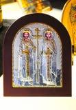 nella moschea Aya Sofia era una mostra degli attributi ortodossi immagine stock libera da diritti