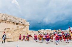 Nella parata di Guardia ai cavalieri della st Jonh in Birgu, Malta Immagini Stock Libere da Diritti