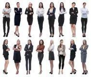 Nella piena crescita collage di un gruppo di riuscite giovani donne di affari fotografie stock