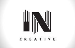 Nella progettazione di Logo Letter With Black Lines Linea vettore Illus della lettera Fotografia Stock