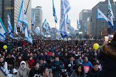 Nella protesta di presidente Park Geun-hye Fotografia Stock Libera da Diritti