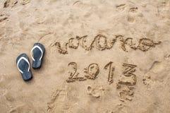 2013 nella spiaggia Fotografie Stock