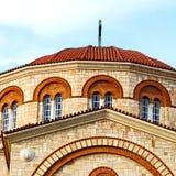nella vecchia architettura di Atene Cicladi Grecia ed in villaggio greco t Fotografia Stock Libera da Diritti