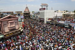Nellaiappar寺庙汽车节日tirunelveli tamilnadu印度 免版税库存图片