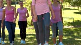 Nelle donne sorridenti di formato di alta qualità nel rosa per consapevolezza del cancro al seno stock footage