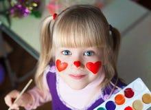 nelli Сторона, покрашенные красные сердца! стоковое изображение rf