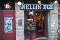 Nellie Bly Kaleidsoscope Store and Jennie Bauters Poster in Jerome Arizona. Nellie Bly Kaleidoscope Store, once Jennie Bauters Brothel on Main Street in historic Royalty Free Stock Image