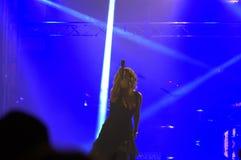 Nelly ad un concerto di vigilia dei nuovi anni sul quadrato Fotografie Stock