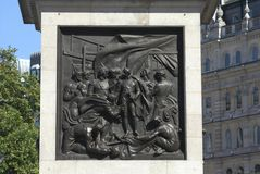 Nelson's-Spaltendetails im Trafalgar-Platz, London, England Stockfotografie
