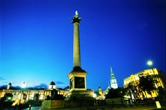 Nelson column at dusk. Nelson column in Trafalgar square at dusk, London stock images
