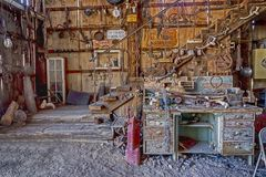 An old historic building full of antiques in Nelson Ghost Town. Nelson Ghost Town is full of old parts and antiques stock images