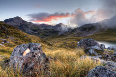 Nelson Lakes, New Zealand. Nelson Lakes national park in New Zealand, South Island area surounding Angelus Hut stock images