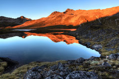 Nelson Lakes, New Zealand. Nelson Lakes national park in New Zealand, South Island area surounding Angelus Hut stock photo