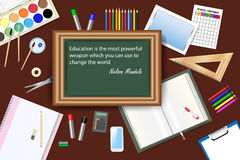 Nelson Madela Quote in School Concept Vector. Green chalkboard with famous quote of Nelson Mandela in the centre of the vector is surrounded by school equipment Stock Images