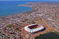 Nelson Mandela bay from the air. Aerial photo of the Nelson Mandela Bay stadium  and surroundings Royalty Free Stock Photography