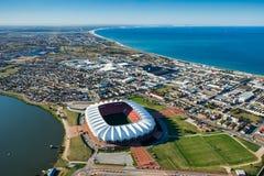 Nelson Mandela Bay Stadium Aerial Sydafrika Arkivfoto
