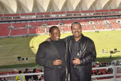 Nelson Mandela Bay Staduim. Bicks,deputy mayor of Nelson Mandela metro and alfred da costa ,Chairman of Port Elizabeth chamber of commerce attend the opening of Royalty Free Stock Photos