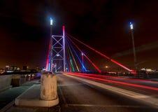 Nelson Mandela Bridge bij Nacht Stock Foto