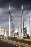 Nelson Mandela Bridge facing into Braamfontein. Heading across the Nelson Mandela Bridge, in the direction from the Johannesburg CBD facing toward the Stock Photo