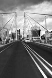 Nelson Mandela Bridge facing into JHB CBD. Heading across the Nelson Mandela Bridge, in the direction from Braamfontein side, toward the Johannesburg CBD stock photos