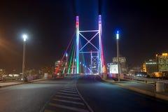 Nelson Mandela Bridge - Johannesburg, South Africa. Nelson Mandela Bridge at night. The 284 meter long Nelson Mandela Bridge, officially opened by Nelson Mandela Stock Photos