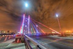 Nelson Mandela Bridge at night - Johannesburg. Nelson Mandela Bridge at night. The 284 metre long Nelson Mandela Bridge, starts at the end of Jan Smuts Avenue Stock Photos