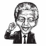 Nelson Mandela Cartoon Caricature Vector-Illustration Lizenzfreies Stockfoto