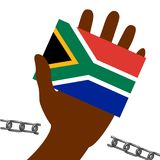 Nelson Mandela International Day. 18 July. Flag in hand of the Republic of South Africa. Broken chain. Nelson Mandela International Day. 18 July. The concept of Stock Photo