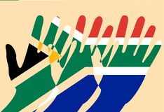 Nelson Mandela International Day. 18 July. Flag of the Republic of South Africa. Raised Hands, Cut-out parts. Nelson Mandela International Day. 18 July. The vector illustration