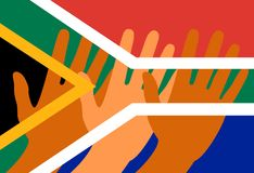 Nelson Mandela International Day. 18 July. Flag of the Republic of South Africa. Raised Hands. Nelson Mandela International Day. 18 July. The concept of a Stock Photo