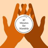 Nelson Mandela International Day. 18 July. 67 Minutes for Mandela. Hands hold a stylized clock. Nelson Mandela International Day. 18 July. The concept of a Stock Images