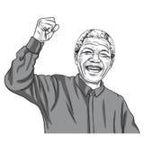 Nelson Mandela Madiba Cartoon Caricature vektorillustration September 11, 2017 vektor illustrationer
