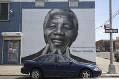 Nelson Mandela at mural wall in Williamsburg section in Brooklyn Stock Images