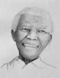 Nelson Mandela portrait. GENEVA - JULY 21: Nelson Mandela drawing portrait on paper with grey pencils made the 21st of july, 2013 in Geneva, Switzerland Royalty Free Stock Images