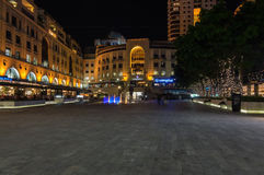 Nelson Mandela Square. Sandton Johannesburg 29 March 2016 The Nelson Mandela Square at night Stock Image