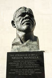 Nelson Mandela Statue. In Southbank London. bronze statue of Mandela by Ian Walters. Poignant message of the statue is The Struggle is My Life a quote by nelson Royalty Free Stock Photos