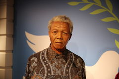Nelson Mandela wax statue. Waxwork statue of Nelson Rolihlahla Mandela, a South African anti-apartheid revolutionary, politician, and philanthropist, who served Royalty Free Stock Photo