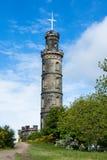 Nelson monument med den enorma bollen som är klar att lyftas Arkivbilder