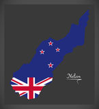 Nelson New Zealand map with national flag. Illustration Stock Photography