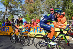 Nelson Olivera, Movistar Team, Leads Serge Pauwels, Team Dimension Data, In La Vuelta España Cycle Race. The riders battle it out near the mountain top Stock Photo