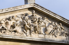 The Nelson Pediment. At Old Royal Naval College in Greenwich, London. Listed as UNESCO World Heritage Royalty Free Stock Photo