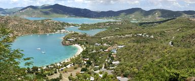 Nelson's Bay. The panoramic view of historical Nelson's Bay where Nelson's Dockyard is standing, the only one working Georgian dockyard in the world (Antigua royalty free stock photography