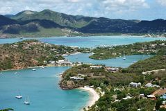 Nelson's Bay View. The view of famous Nelson's Bay on Antigua island where XIX century Georgian harbour is standing - the only one in the world that still in stock photo